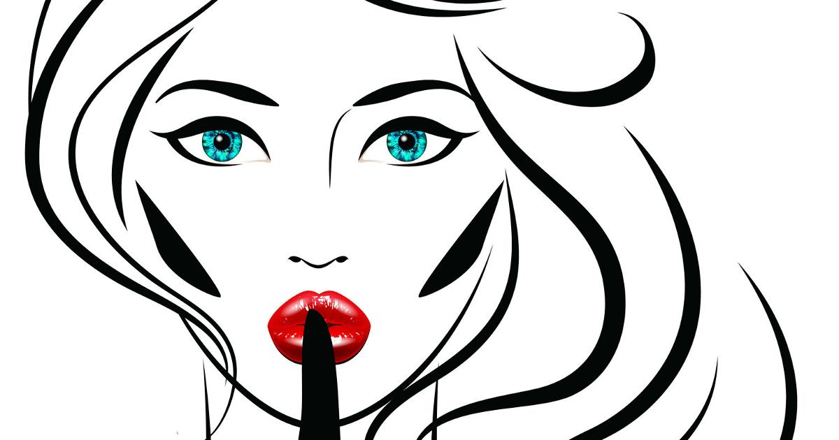 """Illustration einer Frau mit blauen Augen und rot geschminkten Lippen, wie sie das """"Pssst, Ruhe""""-Zeichen macht."""